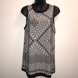AGB Black & White Geometric Print TANK TOP~sz L~